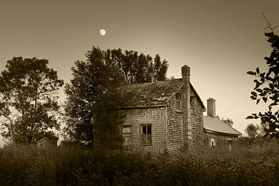 Manitoulin Photograph - Old House In Moonlight by Daniel Martin