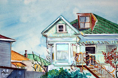 Painting - Old House In Springtime Berkeley by Asha Carolyn Young