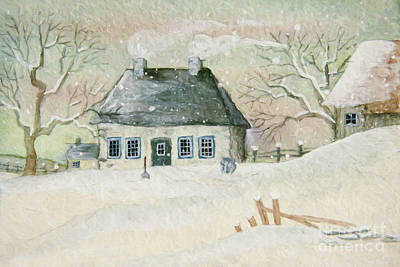 Old House In The Snow/ Painted Digitally Art Print by Sandra Cunningham