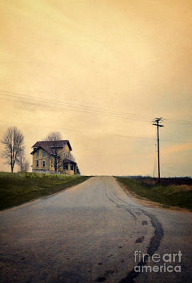 Telephone Poles Photograph - Old House On Country Road by Jill Battaglia