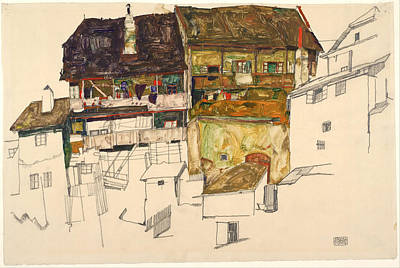 Distortion Painting - Old Houses In Krumau by Egon Schiele