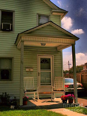 Photograph - Old Houses - New Jersey - In The Oranges - Green House With Flower Pots And Rocking Chairs - Color by Miriam Danar