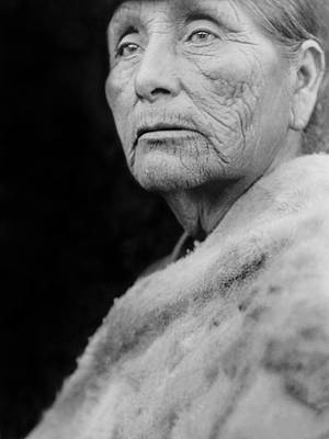Gray Hair Photograph - Old Hupa Woman Circa 1923 by Aged Pixel