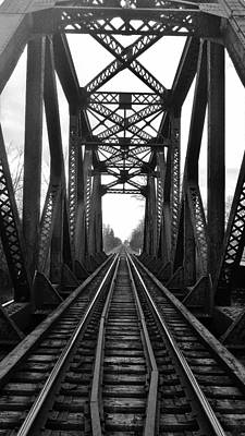 Old Huron River Rxr Bridge Black And White  Art Print by Daniel Thompson