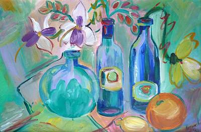 Old Hyacinth Bottle Art Print by Brenda Ruark