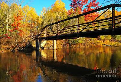 Historic Harvey Bridge Over Manistee River In Wexford County Michigan Art Print