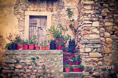 Photograph - Old Italian Door With Flower Vases by Silvia Ganora