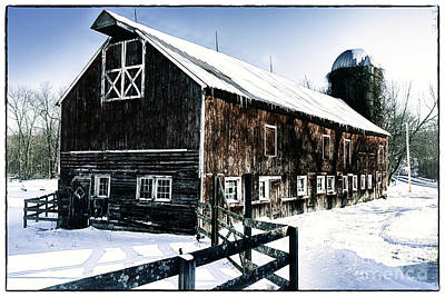 Red Barn In Winter Photograph - Old Jersey Farm In Winter by George Oze