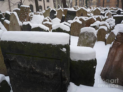 Wintry Photograph - Old Jewish Cemetery by Deborah Smolinske