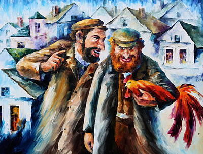 Judaic Painting - Old Jews And A Rooster  by Leonid Afremov