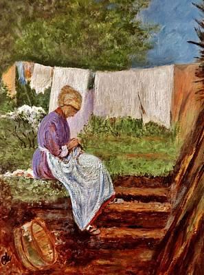 Old Woman Darning After Nicolae Grigorescu-romanian Painter Original
