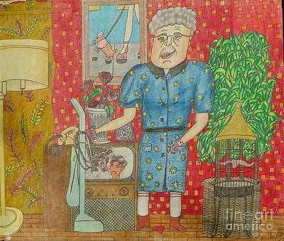 Old Tv Drawing - Old Lady by Juliet Sarah Marx