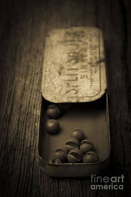 Old Objects Photograph - Old Lead Fishing Sinkers In Tin by Edward Fielding