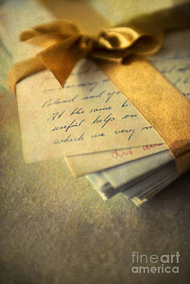 Old Letters And A Golden Ribbon Print by Jaroslaw Blaminsky