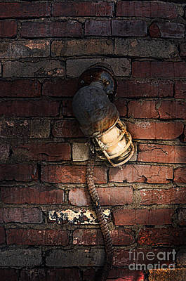 Photograph - Old Light Fixture On Bricks by Jill Battaglia