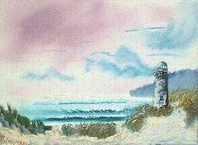 Sanddunes Painting - Old Lighthouse By The Sea -129 by Lee Bowman