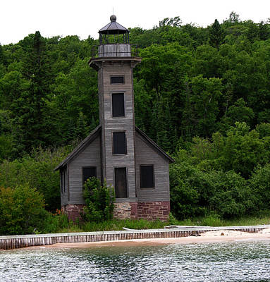 Photograph - Old Lighthouse Pictured Rocks Lakeshore by Robert Lozen