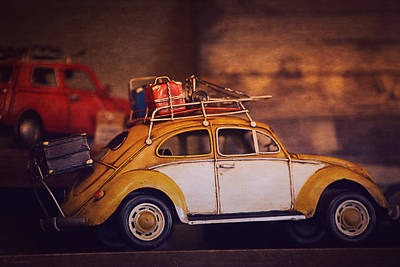 Old Little Yellow Car Print by Maria Angelica Maira