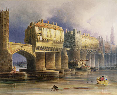 Old London Bridge In 1745, 1846 Oil On Canvas Art Print by Joseph Josiah Dodd