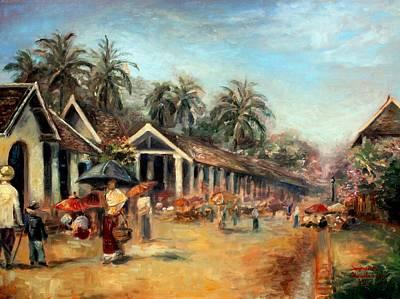 Laos Painting - Old Luang Prabang by Sompaseuth Chounlamany