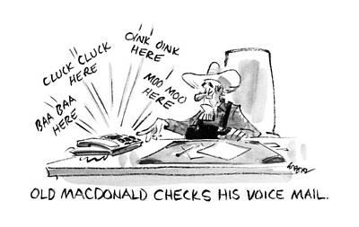 Old Macdonald Checks His Voice Mail: Art Print by Lee Lorenz