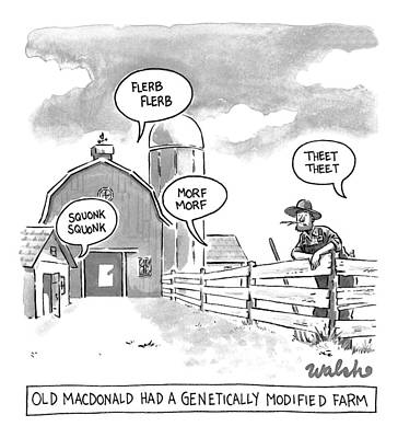 Nursery Rhymes Drawing - Old Macdonald's Genetically Modified Farm -- by Liam Walsh