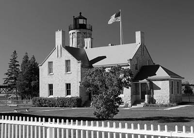 Photograph - Old Mackinac Point Lighthouse Bw by Mary Bedy