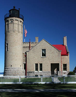 Photograph - Old Mackinac Point Lighthouse Side View by Mary Bedy