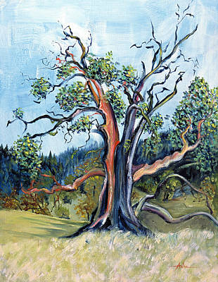 Art Print featuring the painting Old Madrone Tree In November  by Asha Carolyn Young