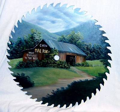 Saw Blades Painting - Old Mail Pouch Barn by Darlene Prowell