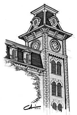 Razorback Drawing - Old Main by Calvin Durham