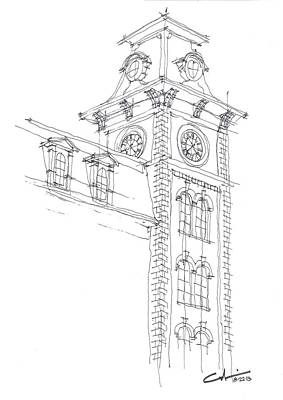 Razorback Drawing - Old Main Study by Calvin Durham