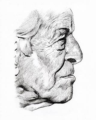 Old Man Art Print by Alex Rodriguez