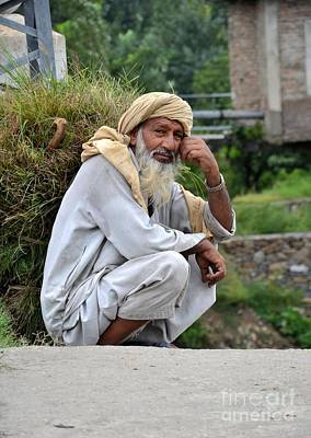 Old Man Carrying Fodder Swat Valley Kpk Pakistan Art Print