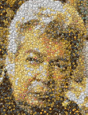 Pawn Painting - Old Man Coin Mosaic by Paul Van Scott