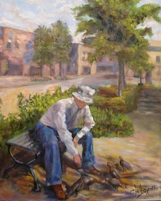 Old Man Feeding The Pigeons Original