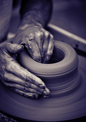 Artist Working Photograph - Old Man Hands Working On Pottery Wheel by Modern Art Prints