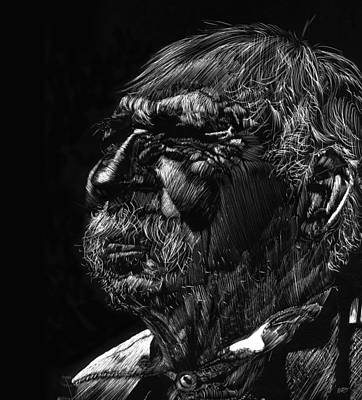 Drawing - Old Man by Michele Engling