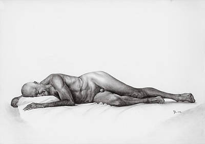 Nude Old Men Drawing - Old Man Nude by Laszlo Papp