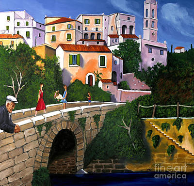 Old Man On Bridge Art Print
