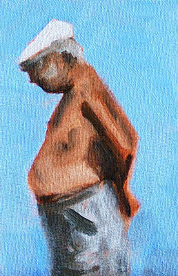 Old Man On The Beach Print by Nancy Merkle