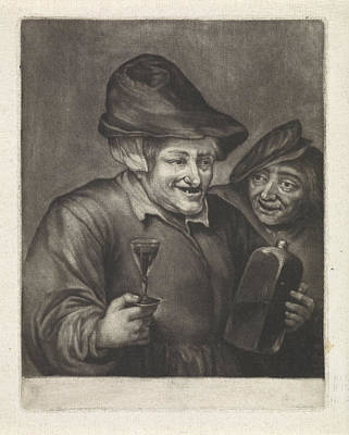 Glass Bottle Drawing - Old Man With A Bottle And A Glass Version by Jan Van Der Bruggen
