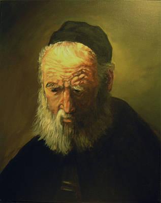 Old Man With A Cap Art Print by John Genuard