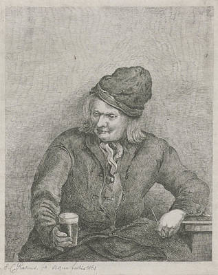 Old Man With Glass And Pipe In Hand, Eberhard Cornelis Rahms Art Print