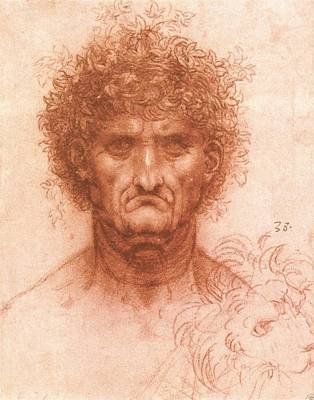 1505 Painting - Old Man With Ivy Wreath And Lion's Head by Leonardo da Vinci
