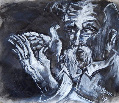 Drawing - Old Man With Messianic Hands by Kenneth Agnello