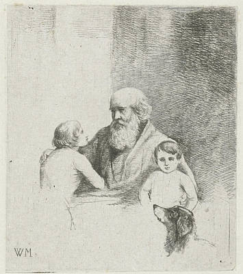 Children Sitting Drawing - Old Man With Two Kids And A Dog, Christiaan Wilhelmus by Christiaan Wilhelmus Moorrees