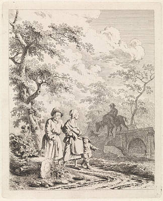 Work On Paper Drawing - Old Man, Woman And Child On A Forest Path by Quint Lox