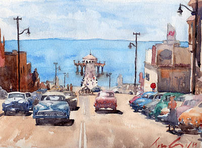 City Scenes Paintings - Old Manhattan Beach by Max Good