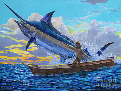Canoes Painting - Old Man And The Sea Off00133 by Carey Chen